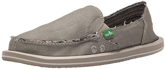 Sanuk Womens Donna Hemp Flat -  Olive Grey -  7 M US