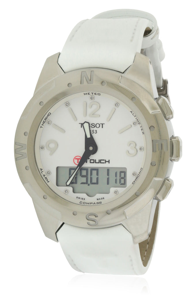 Tissot T-Touch II Titanium Perpetual Leather Diamond Ladies Watch