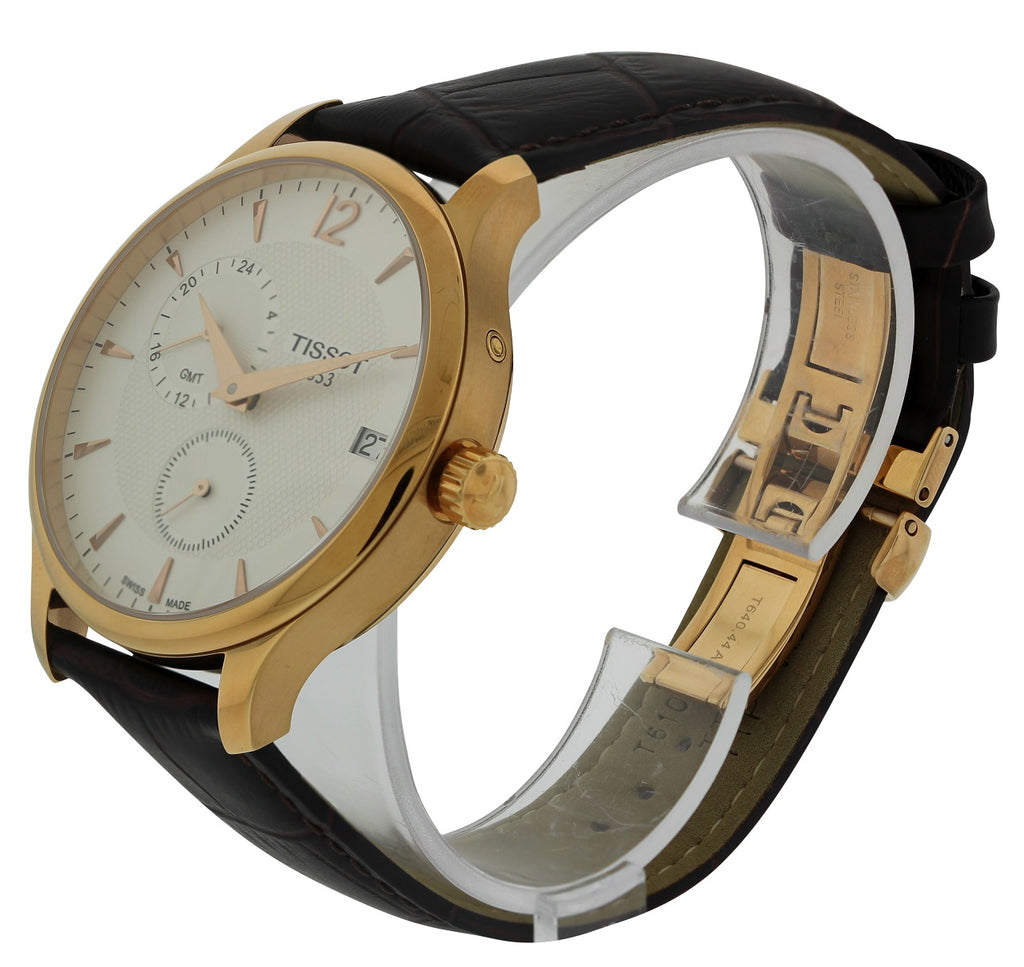 Tissot Tradition Rose Gold-Tone GMT Mens Watch