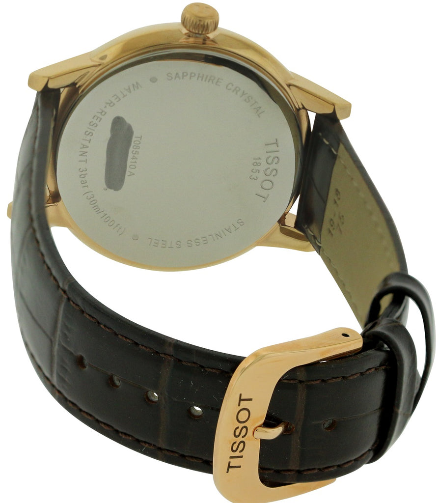 Tissot Carson Rose Gold-Tone Leather Mens Watch