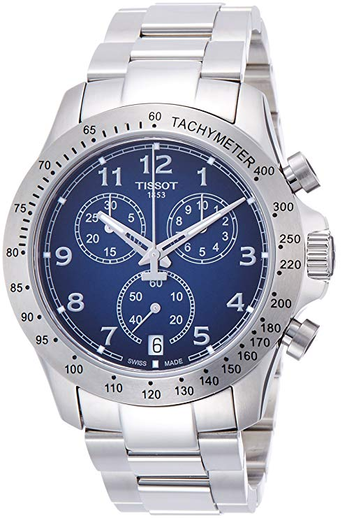 Tissot V8 Blue Dial Chronograph Mens Watch