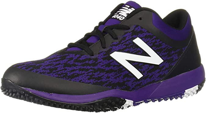 New Balance Mens 4040v5 Turf Baseball Shoe - Black/Purple - 9