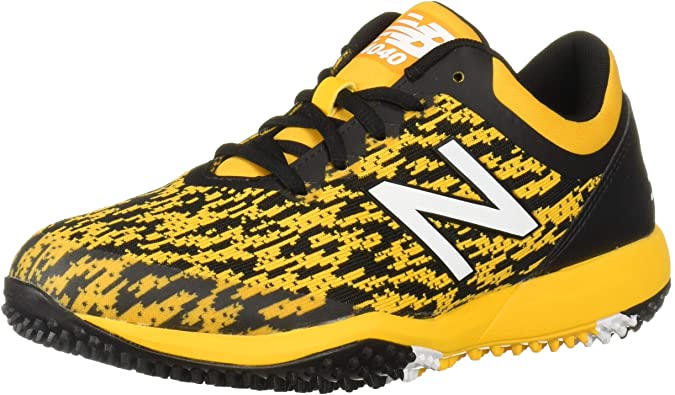 New Balance Mens 4040v5 Turf Baseball Shoe - Black/Yellow - 9.5