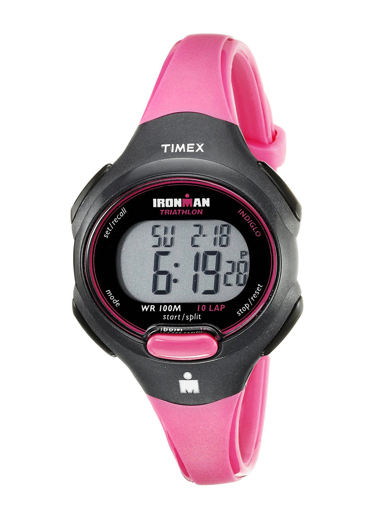 Timex Womens Ironman Essential 10 Mid-Size Pink/Black Resin Strap Watch
