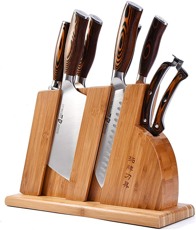 TUO Cutlery Knife Set with Wooden Block - Honing Steel and Shears - Pakkawood Handle