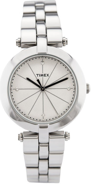 Timex Greenwich Silvertone Stainless Steel Ladies Watch