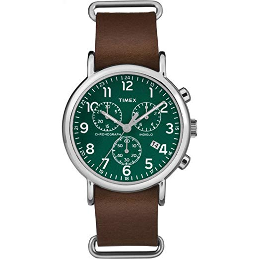 Timex Weekender Chrono Brown Leather Slip-Thru Unisex Watch