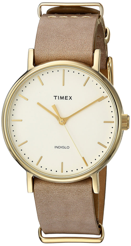 Timex Unisex Fairfield 37 Taupe Leather Slip-Thru Strap Watch