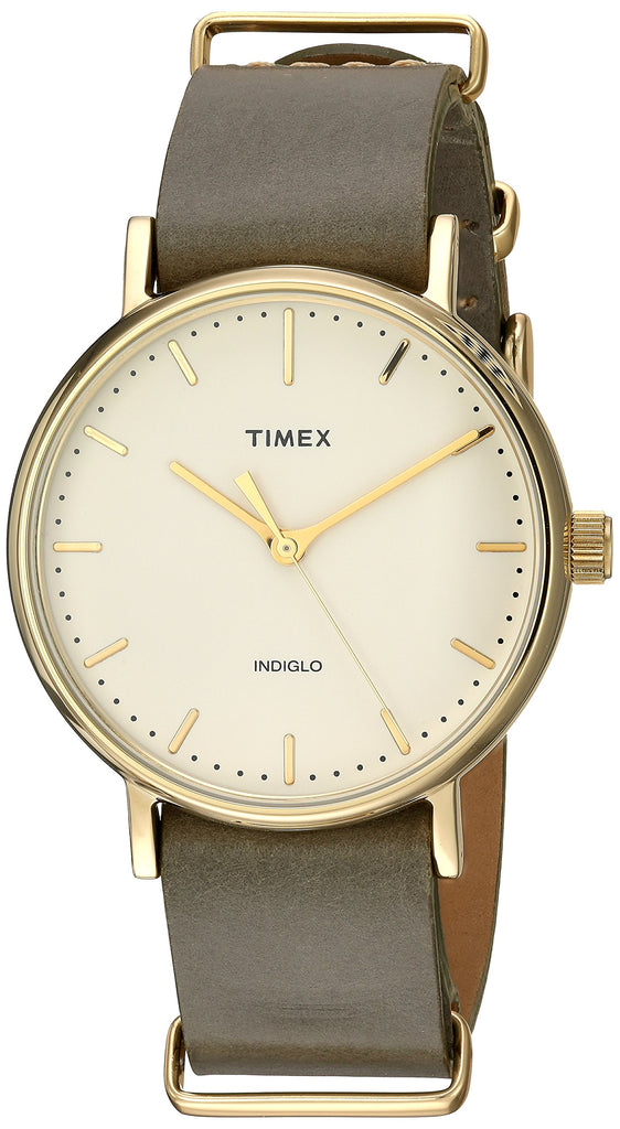 Timex Unisex Fairfield 37 Olive Leather Slip-Thru Strap Watch