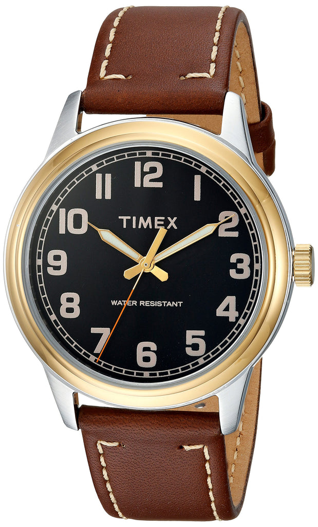 Timex Mens New England Brown/Gold Leather Strap Watch