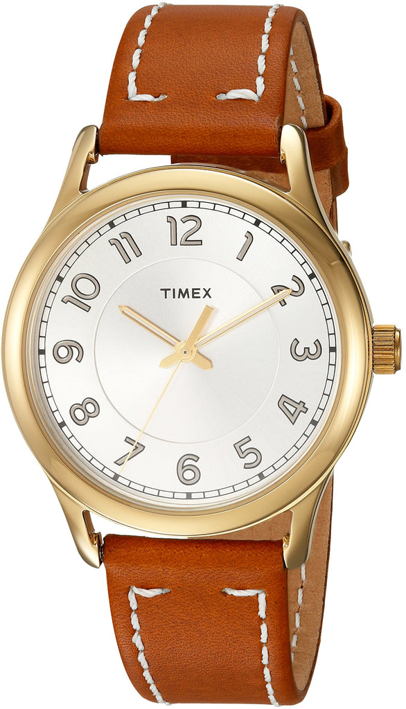 Timex Womens New England Brown/Gold Leather Strap Watch