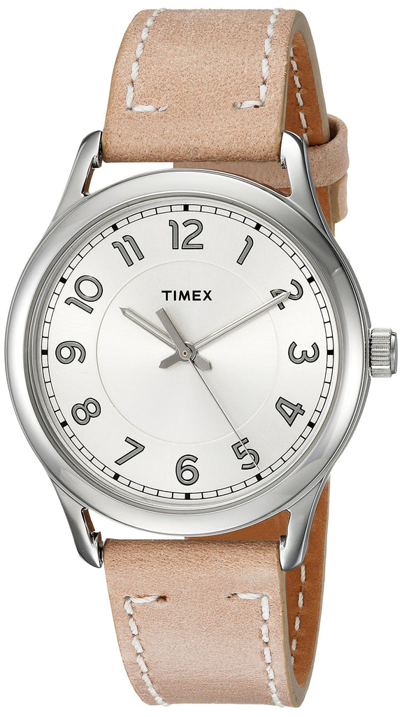 Timex Womens New England Sand/Silver Leather Strap Watch