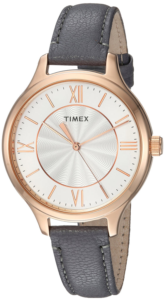 Timex Womens Peyton Gray/Rose Gold-Tone Leather Strap Watch