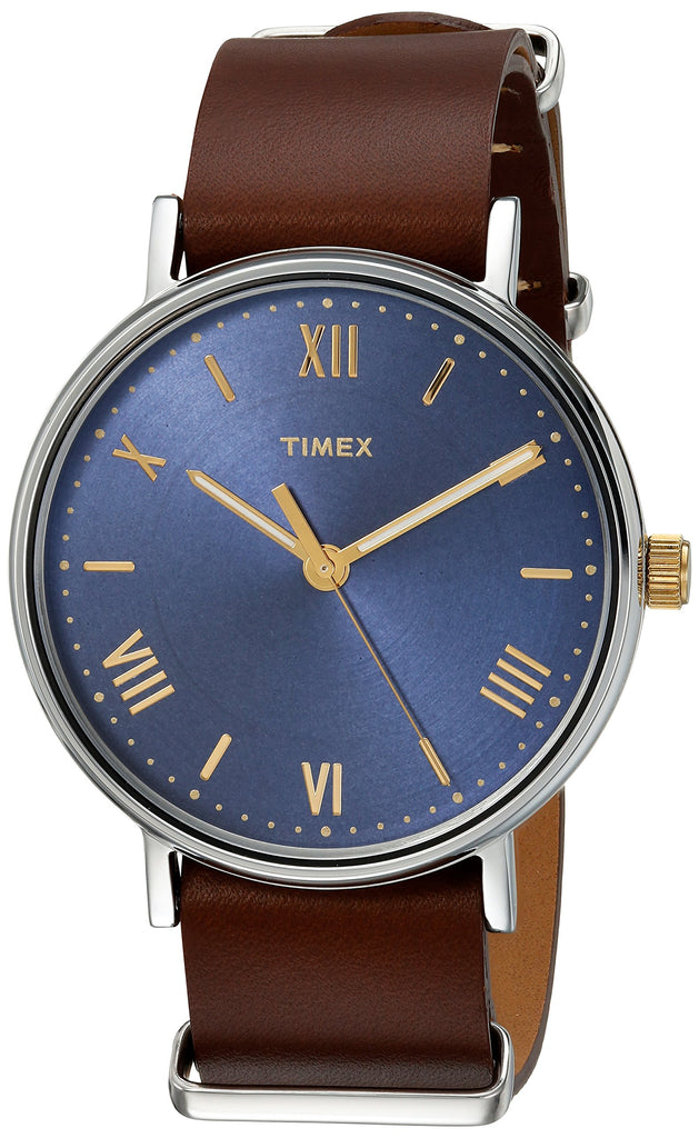Timex Mens Southview 41 Brown/Blue Leather Strap Watch