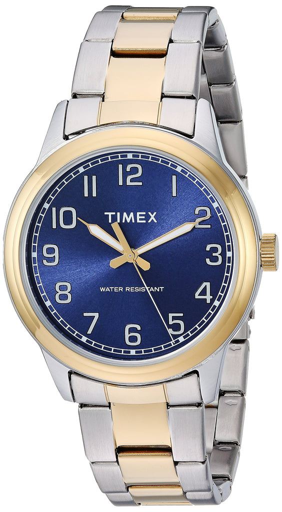 Timex Mens New England Two-Tone/Blue Stainless Steel Bracelet Watch