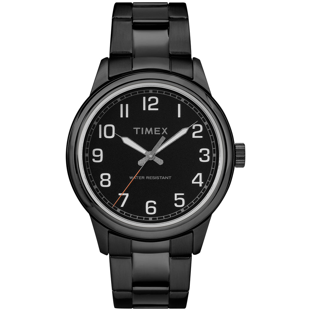 Timex Mens New England Black Stainless Steel Bracelet Watch
