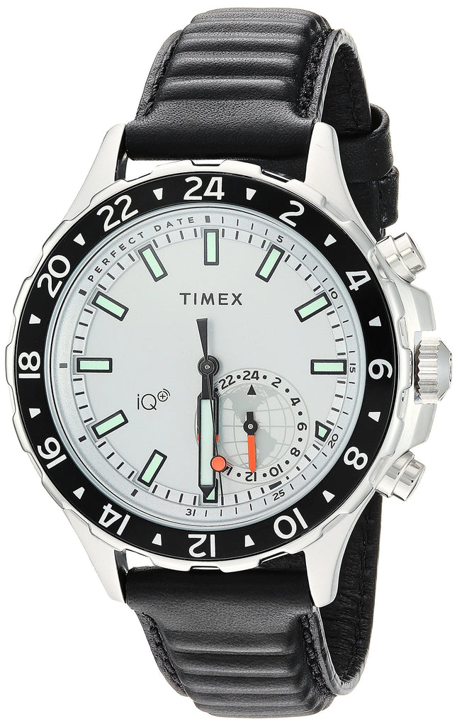 Timex Mens IQ+ Move Multi-Time Black/White Leather Strap Watch