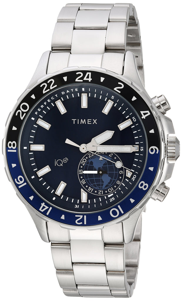 Timex Mens IQ+ Move Multi-Time Silver-Tone/Blue Stainless Steel Bracelet Watch