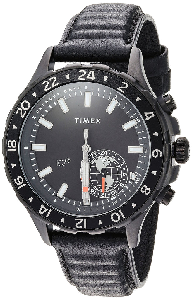 Timex Mens IQ+ Move Multi-Time Black Leather Strap Watch
