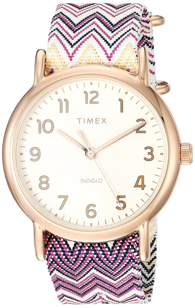 Timex Womens Weekender 38 Purple Chevron Fabric Slip-Thru Strap Watch