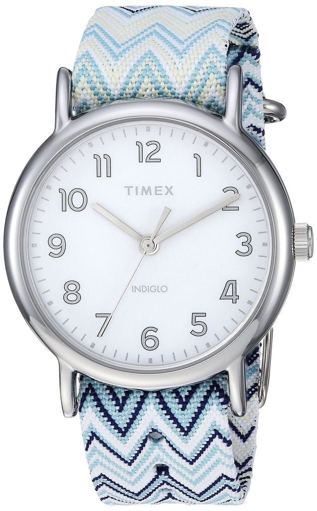 Timex Womens Weekender 38 Blue Chevron Fabric Slip-Thru Strap Watch