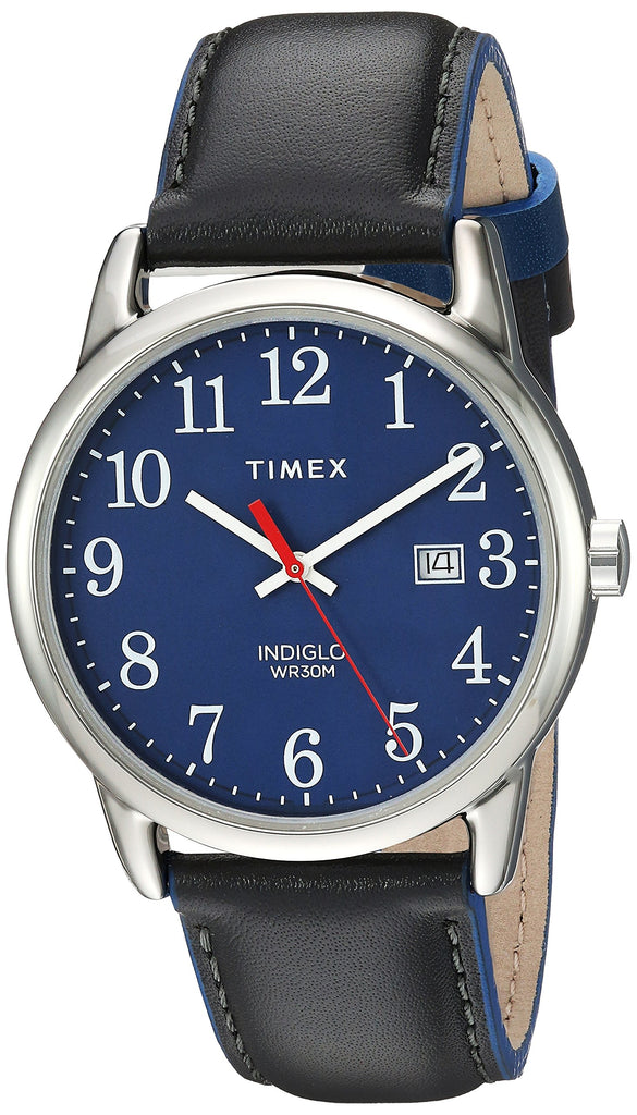 Timex Mens Easy Reader 38mm Gray/Blue Leather Strap Watch