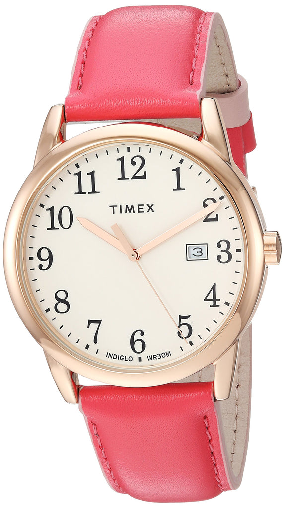 Timex Womens Easy Reader 38mm Pink/Rose Gold-Tone Leather Strap Watch