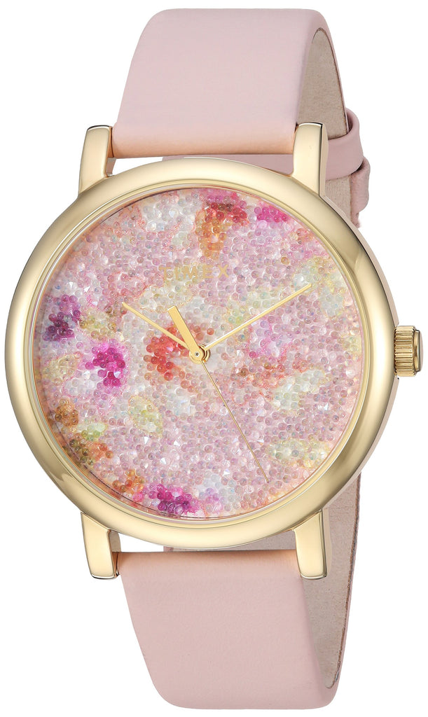 Timex Womens Crystal Bloom Pink/Gold Floral Leather Strap Watch
