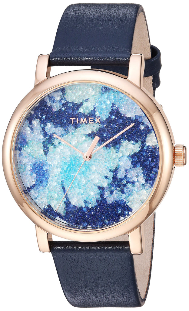 Timex Womens Crystal Bloom Blue/Rose Gold Floral Leather Strap Watch