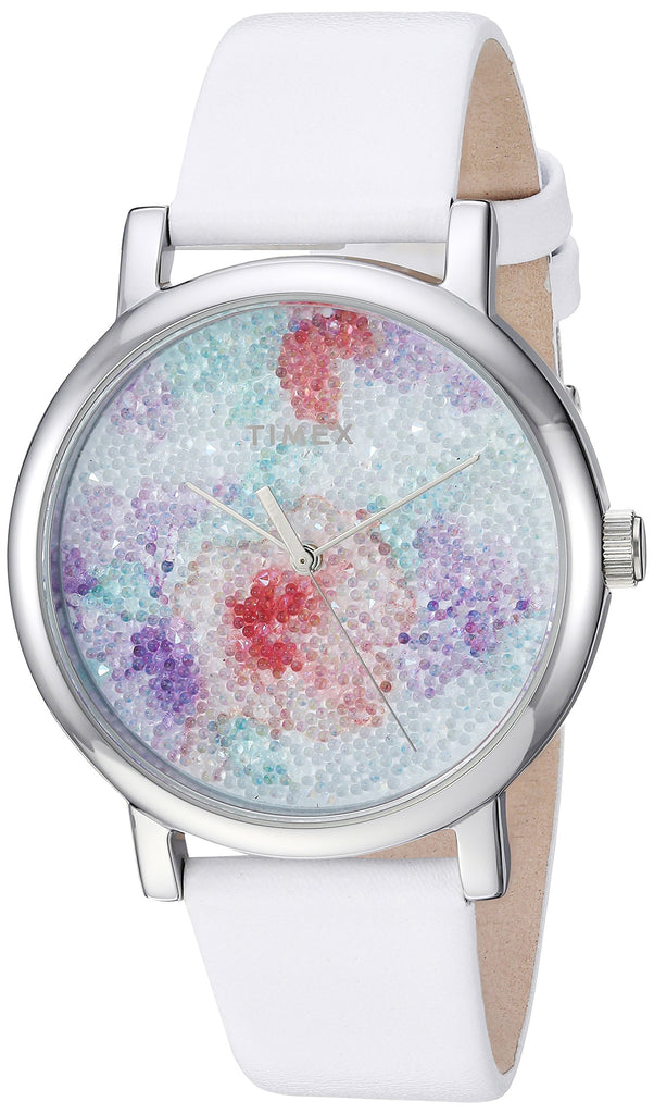 Timex Womens Crystal Bloom White/Silver Floral Leather Strap Watch