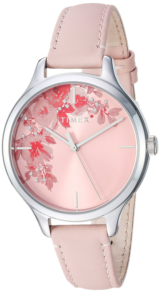 Timex Womens Crystal Bloom Pink/Silver Floral Accent Leather Strap Watch