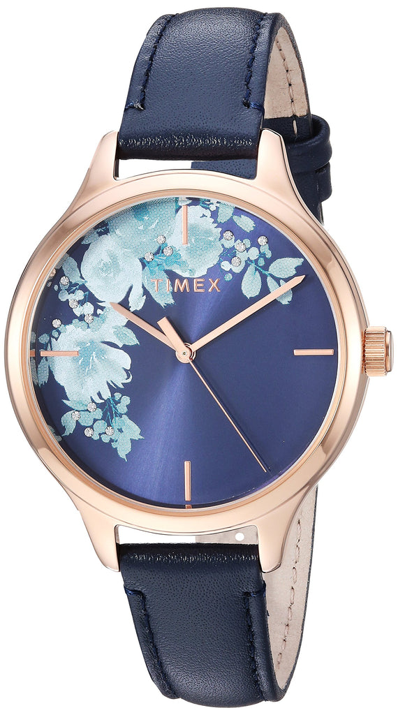 Timex Womens Crystal Bloom Blue/Rose Gold Floral Accent Leather Strap Watch