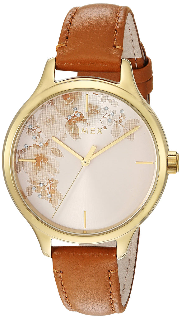 Timex Womens Crystal Bloom Tan/Gold Floral Accent Leather Strap Watch