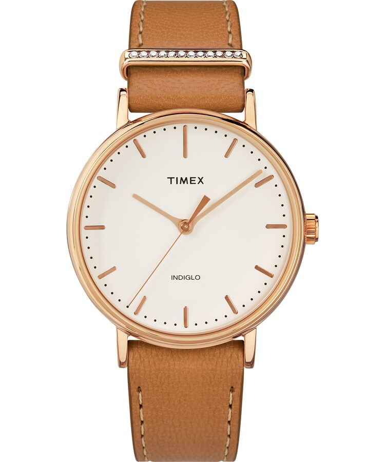 Timex Fairfield Swarovski Crystal Leather Ladies Watch