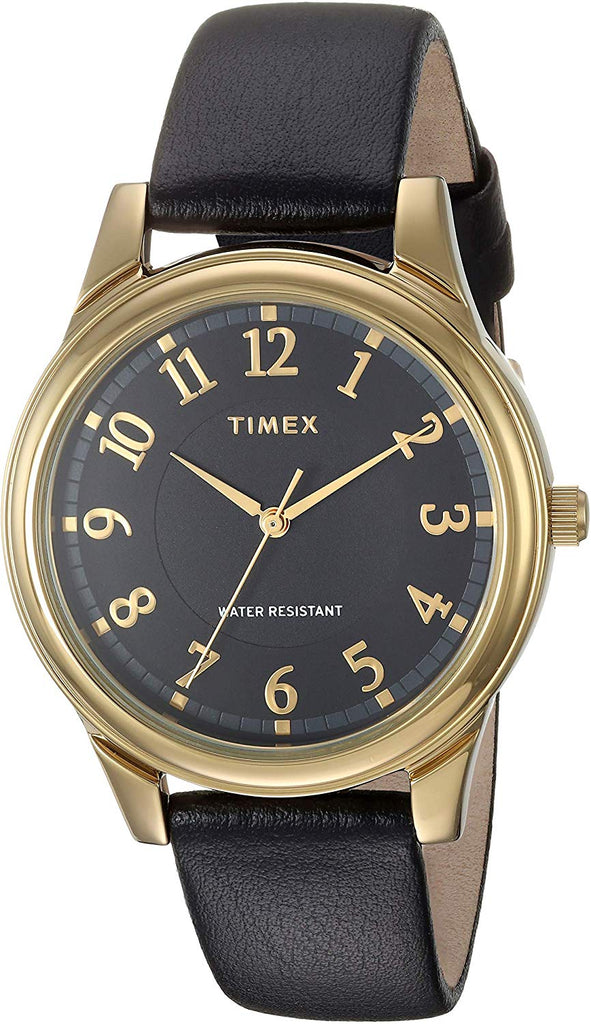 Timex Basics Gold-Tone Leather Ladies Watch