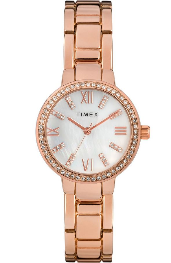 Timex Rose Gold-Tone Swarovski Crystals Ladies Watch