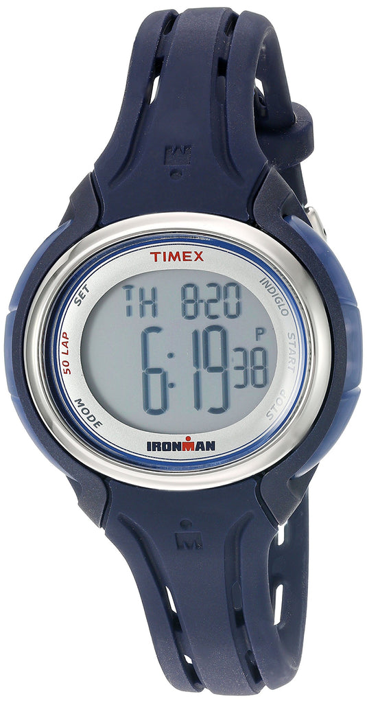 Timex Womens Ironman Sleek 50 Dark Blue Silicone Strap Watch