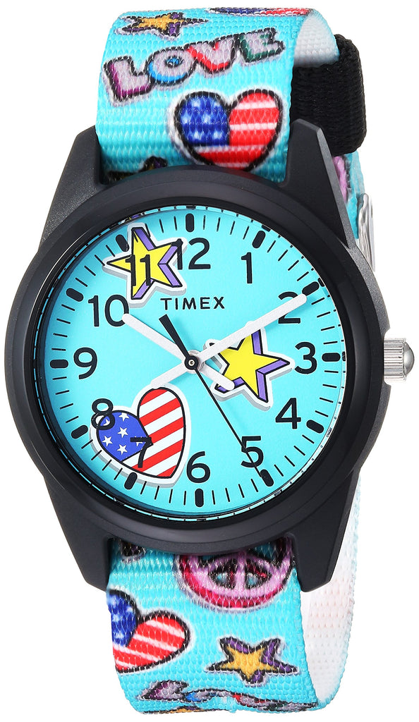 Timex Girls Time Machines Teal/Stars & Flags Nylon Strap Watch