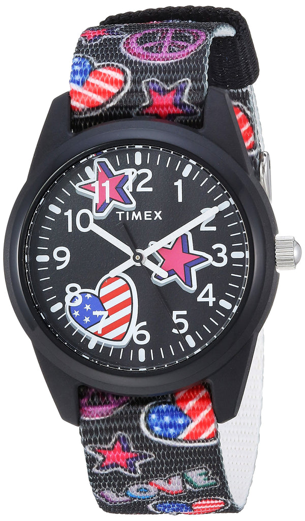 Timex Girls Time Machines Black/Stars & Flags Nylon Strap Watch