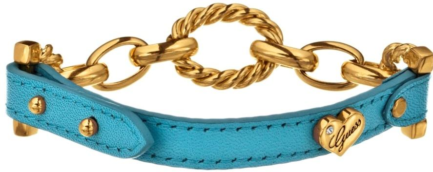 GUESS Blue Leather Chain-Link Bracelet