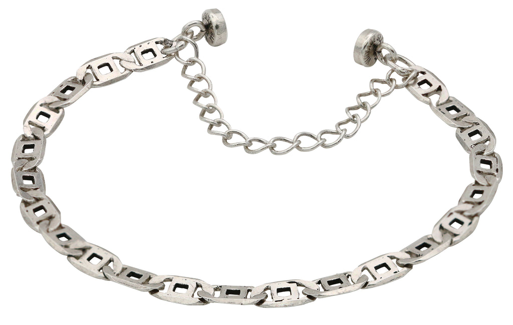 Alex and Ani Womens Chain Link Magnetic Bracelet Rafaelian Silver