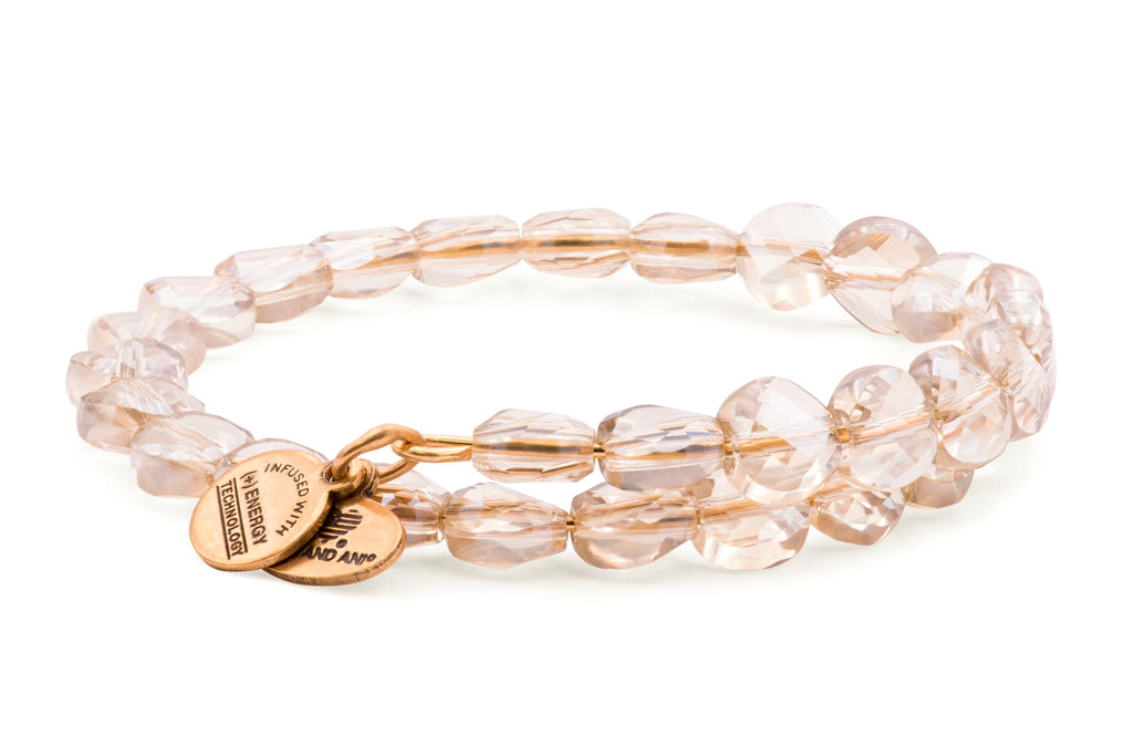 Alex and Ani Ice Luminous Light Beaded Wrap Bracelet - Rafaelian Gold