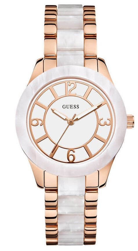 Guess Rose Gold-Tone & White Marbleized Ladies Watch