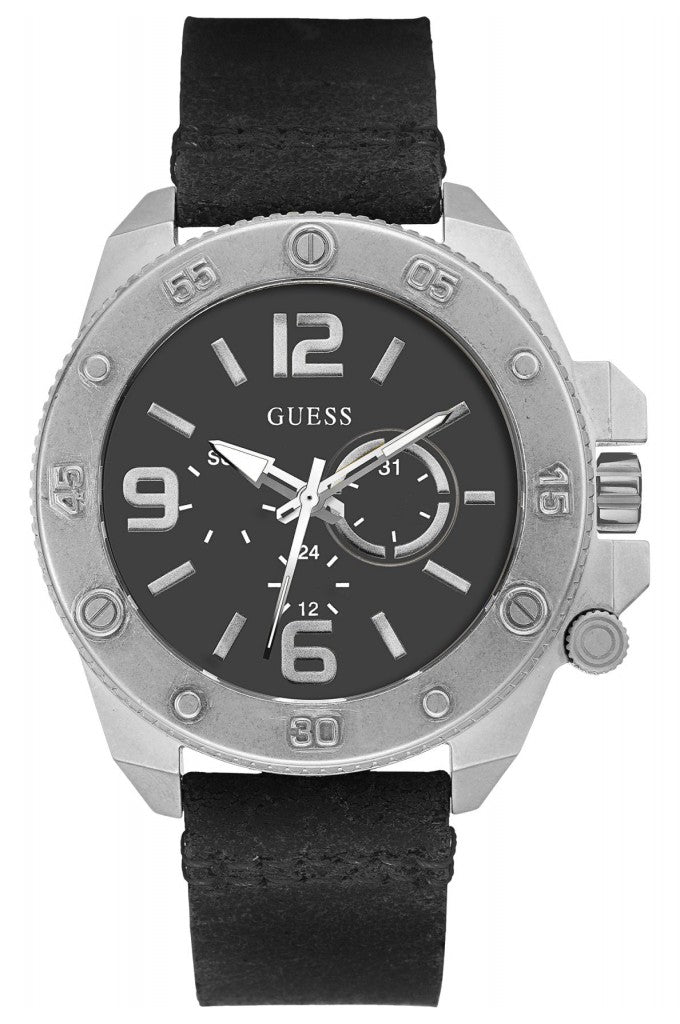 Guess Multifunction Leather Mens Watch