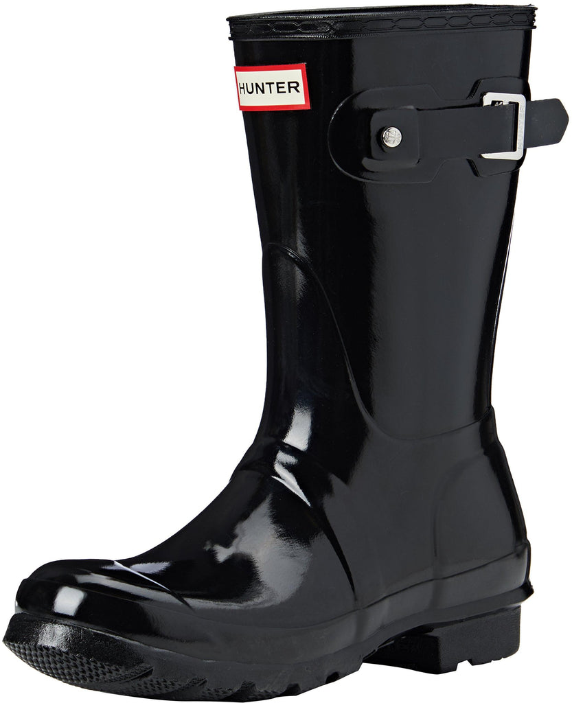 Hunter Womens Original Short Gloss Rain Boots - Black - Size 8