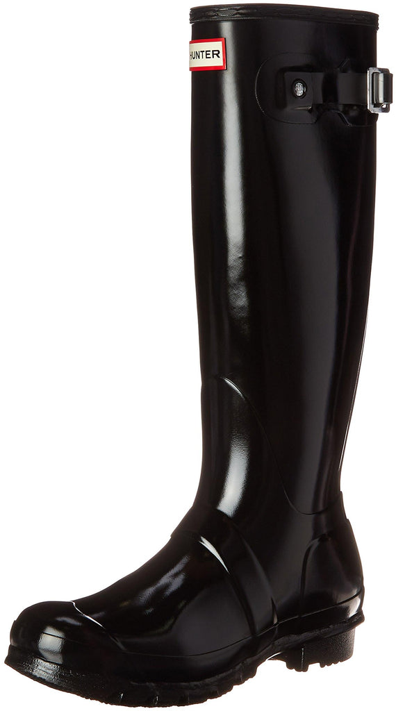 Hunter Womens Original Tall Gloss Rain Boots - Black - Size 5