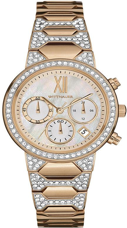 Wittnauer Crystal-Accent Rose Gold-Tone Chronograph Ladies Watch