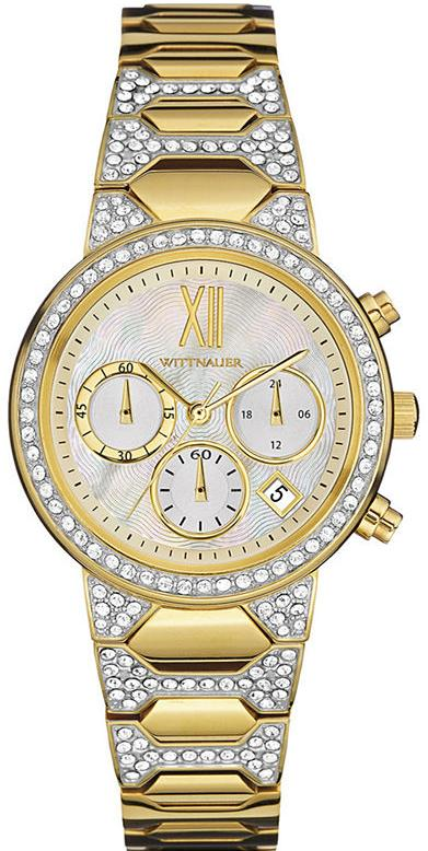 Wittnauer Crystal-Accent Gold-Tone Chronograph Ladies Watch