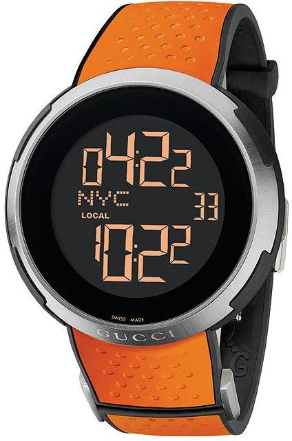 Gucci I-Gucci Digital Orange Rubber Mens Watch