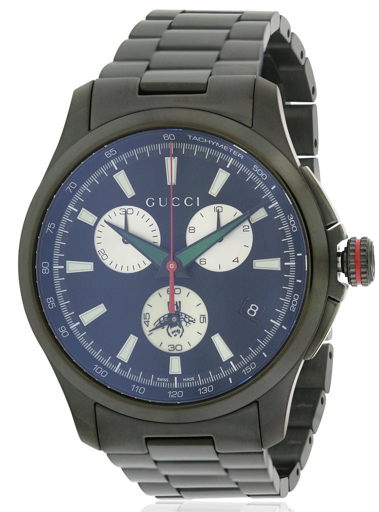 Gucci G-Timeless Black Stainless Steel Chronograph Mens Watch